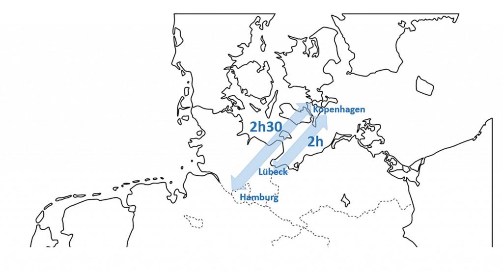 Reisezeiten Hamburg - Lübeck - Kopenhagen